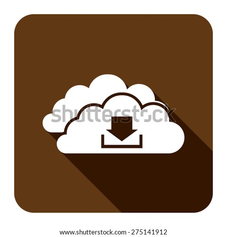 Brown Square Cloud Computing With Download Flat Long Shadow Style Icon, Label, Sticker, Sign or Banner Isolated on White Background - stock photo