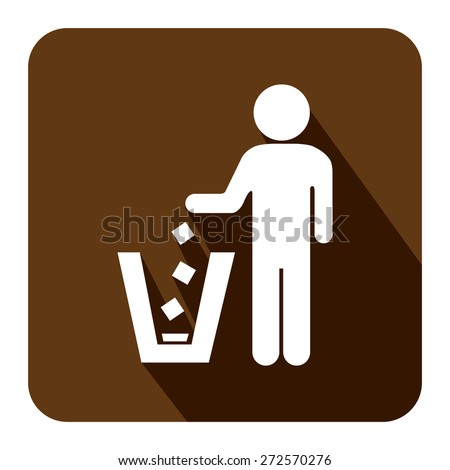 Brown Square Dustbin, Litter Bin or Trash Can Long Shadow Style Icon, Label, Sticker, Sign or Banner Isolated on White Background - stock photo