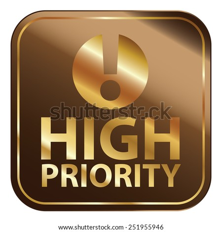 Brown Square Metallic High Priority Icon, Sign, Sticker or Label Isolated on White Background  - stock photo