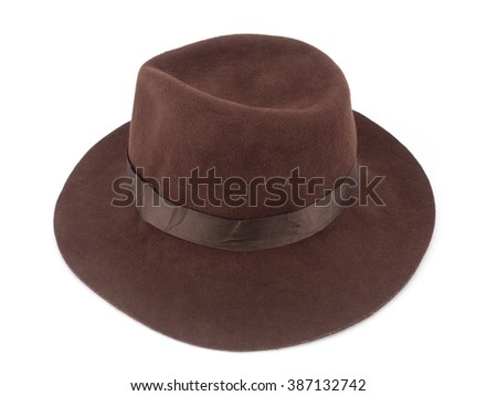 Brown straw hat isolated on white background clipping path