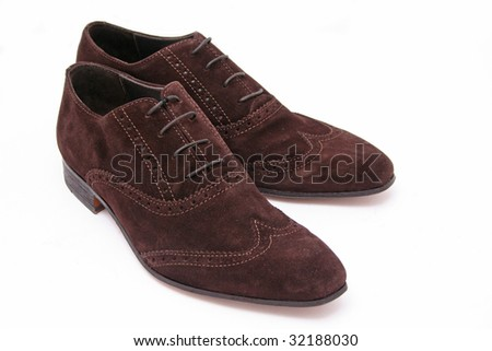 Brown suede men shoes - stock photo