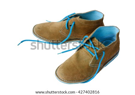 Brown suede shoes leather A shoestring blue A suede classic style luxury Casual suede shoes on white background - stock photo