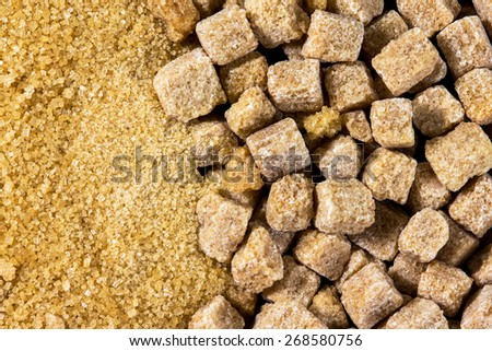 Brown sugar cubes background,  texture - stock photo