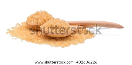 brown sugar in a wooden spoon isolated on white - stock photo