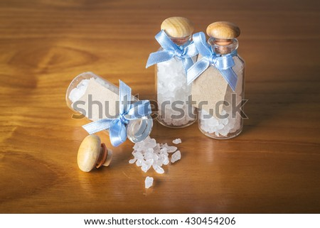 brown sugar in glass bottle - stock photo