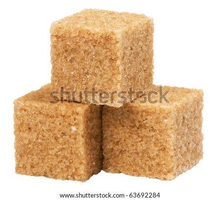 brown sugar,isolated on white with clipping path. - stock photo
