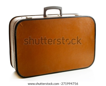 Brown suitcase isolated on white - stock photo