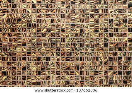 Brown tile wall - stock photo