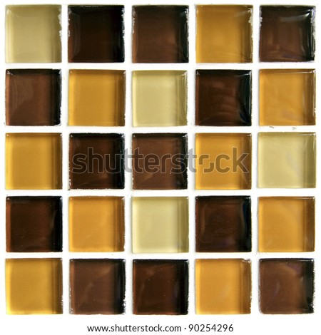 Brown tiled mosaic wall for background - stock photo