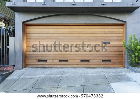 Brown two car garage door