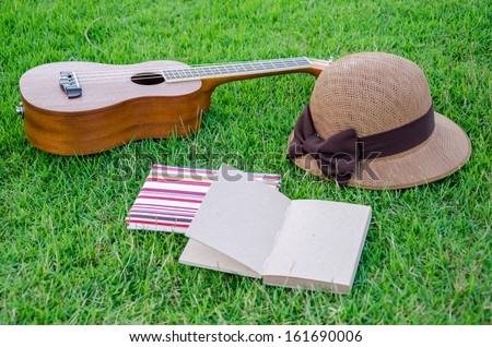 brown ukulele lying on meadow with lovely hat and notebook.