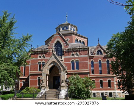 Brown University, Providence, Rhode Island, Robinson Hall, library building constructed in 1878 - stock photo