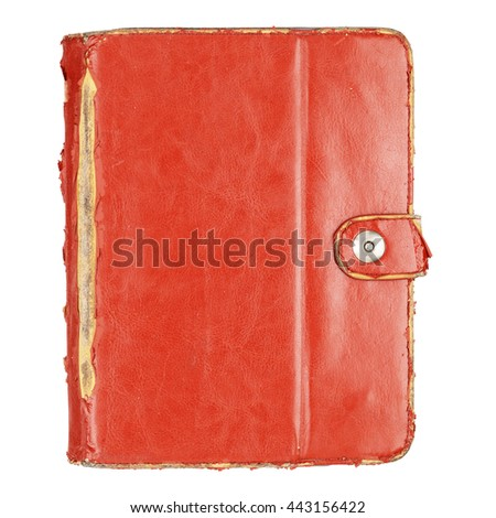 Brown used leather tablet computer case isolated on a white background. With clipping path - stock photo