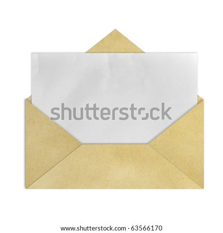 Brown Vintage Envelope with blank paper on white. - stock photo