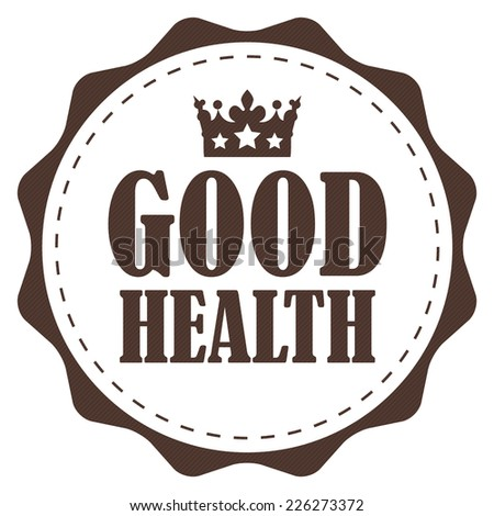 Brown Vintage Good Health Icon, Label or Sticker Isolated on White Background  - stock photo