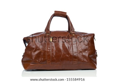 Brown vintage leather bag on white background