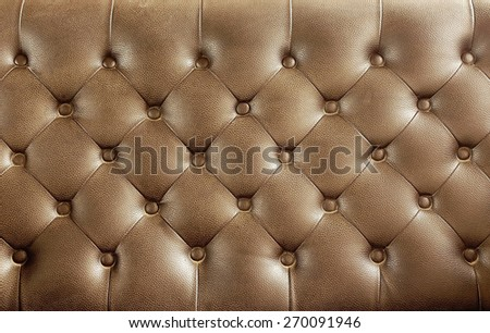 Brown vintage leather close-up Sofa background          - stock photo