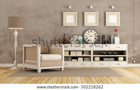 Brown vintage room with armchair and sideboard with decor objects - 3d rendering