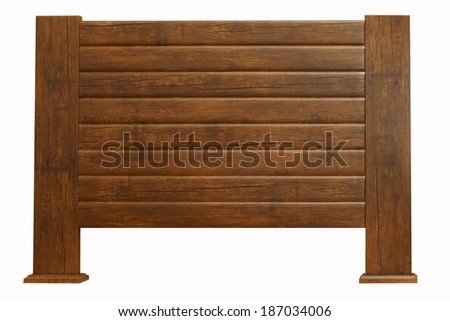 brown Vintage wooden headboard isolated on white - stock photo