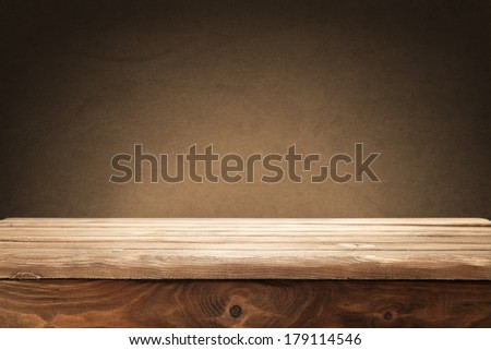 brown wall and desk  - stock photo