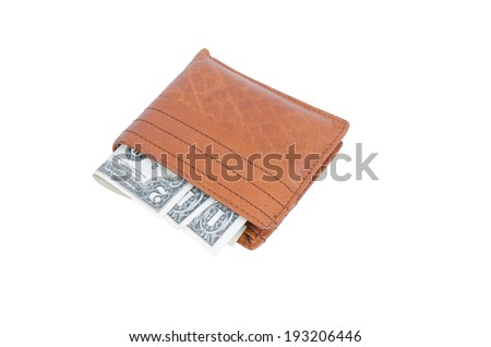 brown wallet with money on white background