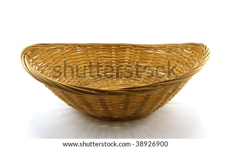 Brown wattled basket isolated on a white background - stock photo