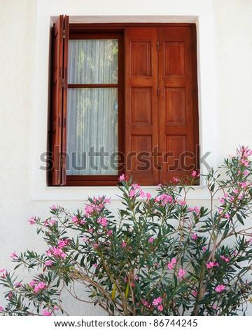 brown window, pink oleander, Greece - stock photo