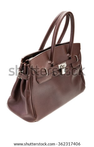 Brown womans bag isolated on white background.