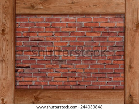 brown wood frame border and red brick wall texture background - stock photo