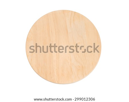 Brown wooden board isolate on white with clipping path - wood sign tag - Round shape