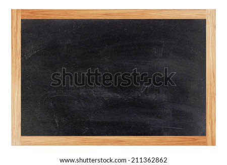Brown wooden chalk board frame on white background