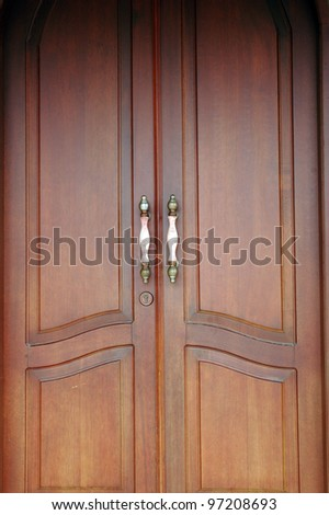 brown wooden door - stock photo