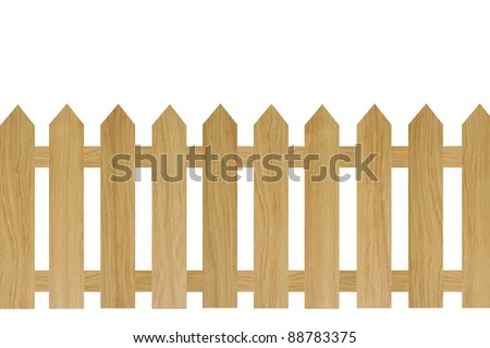 brown wooden fence isolated on white background. - stock photo