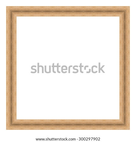 Brown wooden frame isolated on white background. Contemporary picture frames in high resolution vibrant colors. Wood photo frame. Wooden frame for paintings or photographs. - stock photo
