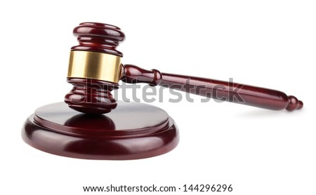 Brown wooden gavel isolated on a white background
