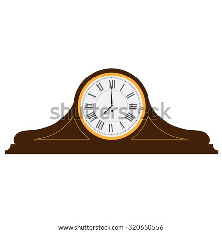 Brown wooden old clock with roman numerals raster illustration. Vintage desk clock. Table clock  - stock photo