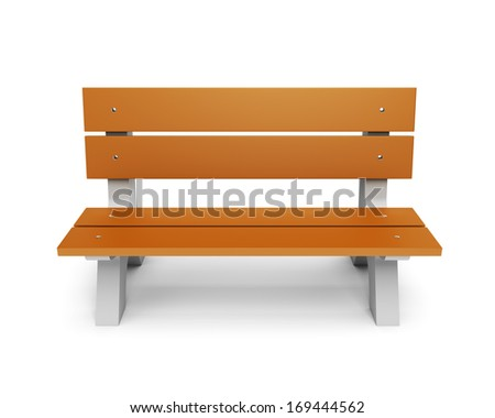 Brown wooden park bench isloated on white background - stock photo