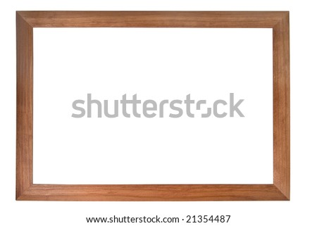Brown wooden photo frame isolated on white (with empty space for text, photo or picture) - stock photo