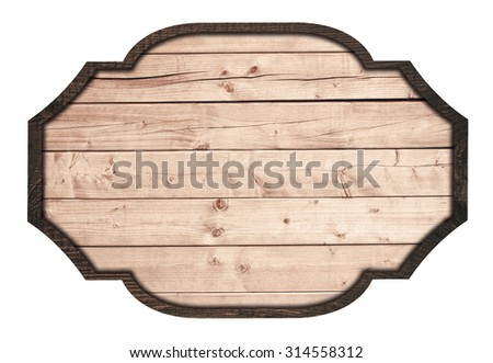 Brown wooden signboard, plate, planks and dark frame on white background - stock photo