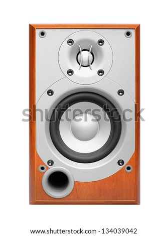 Brown wooden sound speaker isolated on white background - stock photo