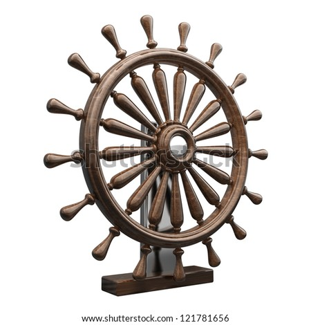 Brown wooden steering-wheel  isolated on white background High resolution 3d render - stock photo