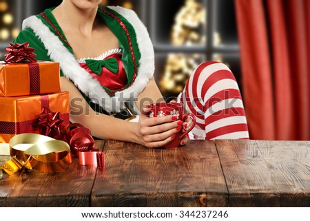 brown wooden table and elf  - stock photo