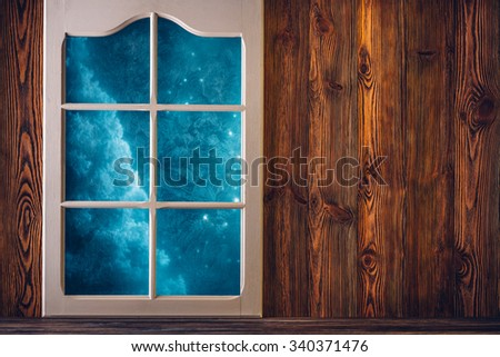 Brown wooden wall and a frosted window background - stock photo