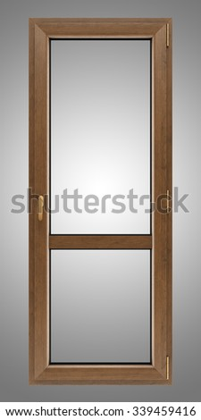brown wooden window isolated on gray background