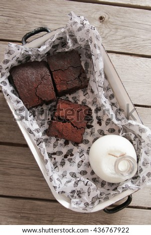 brownie with mint delicious dessert for the whole family - stock photo