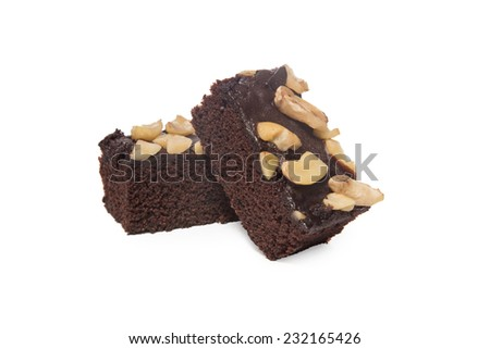 brownies and cashew nut isolated on white background - stock photo