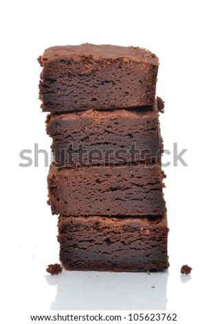 brownies dessert white background - stock photo