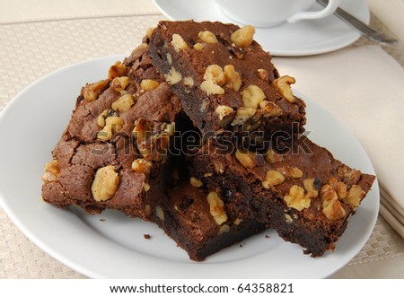 Brownies with walnuts and a cup of tea