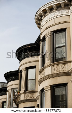 brownstone apartments in New York City - stock photo