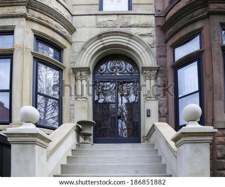Brownstone Brooklyn Series/Views of classic brownstone homes & exteriors in the Park Slope neighborhood of Brooklyn - stock photo